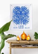 Madhu International Graphic Zodiac Flag Tapestry Zodiac Sign Leo Astrology Tapestry The Universal Sign Horoscope Celestial Tapestries Hippie Wall Hanging with Steel Grommets for Easy Hanging