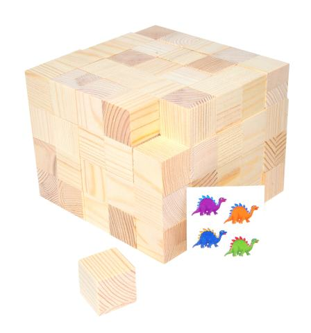 Mandala Crafts Wooden Block, Wood Cube Set for Toddlers, Kids, Puzzles, Baby Showers, DIY Crafting Projects 1 Inch 100 PCs