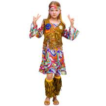 Peace Love 60s/70s Happy Hippie Girl Costume with Hippie Accessories for Kids