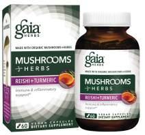 Gaia Herbs Mushrooms + Herbs Reishi + Turmeric, Vegan Liquid Capsules, 60 Count - Daily Immune Support & Inflammation Supplement with Organic Reishi and Turmeric