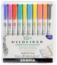 Zebra Pen Mildliner, Double Ended Highlighter, Broad and Fine Tips, Refresh and Friendly Colors, 10 -Count