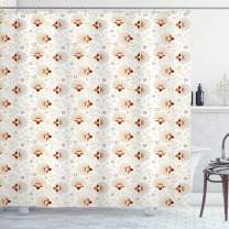 "Ambesonne Abstract Shower Curtain, Chevron Zigzags Background with Ornate Flourishing Petals Illustration, Cloth Fabric Bathroom Decor Set with Hooks, 75"" Long, Orange Cream"