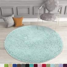 MAYSHINE Round Bath Mat Non-Slip Chenille 3 Feet Shaggy Bathroom Rugs Extra Soft and Absorbent Perfect Plush Carpet for Living Room Bedroom, Machine Wash/Dry-Spa Blue