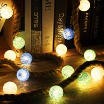 Miusco Led Fairy String Light, 3m/10ft 30 LEDs, IP20 Water Resistant, Battery Operated Cotton Ball Night Light for Bedroom Bathroom Farmhouse Rustic Wall Decor and Table Centerpiece.