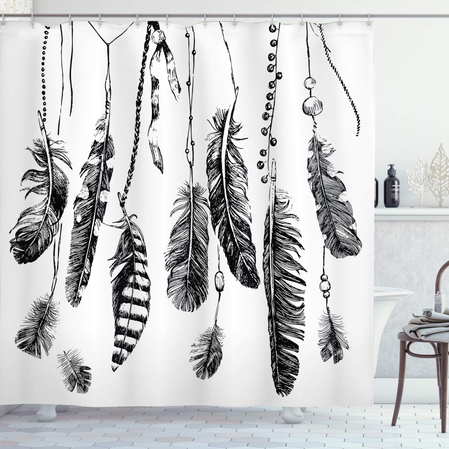 """Ambesonne Ethnic Shower Curtain, Simplistic Hand Drawn Design of Feathers with Grunge Inspired Details Art Print, Cloth Fabric Bathroom Decor Set with Hooks, 70"""" Long, Black"""