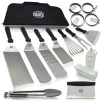 Grillers Choice- 16 PC Griddle Accessories Set- Metal Spatula Set, Commercial Heavy Duty Stainless Steel,Flat Top,Grill,Indoor-Outdoor,Hibachi,BBQ Grilling Utensils- Designed by Chef and BBQ Judge