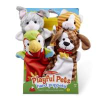 Melissa & Doug Playful Pets Hand Puppets - The Original (Set of 4 - Rabbit, Parrot, Kitten, and Puppy, Soft Plush, Great Gift for Girls and Boys - Kids Toy Best for 2, 3, 4, 5 and 6 Year Olds)