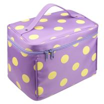 EN'DA Nylon Large Makeup bags Travel makeup bag with quality zipper single layer multifunctional cosmetics bag (Purple)