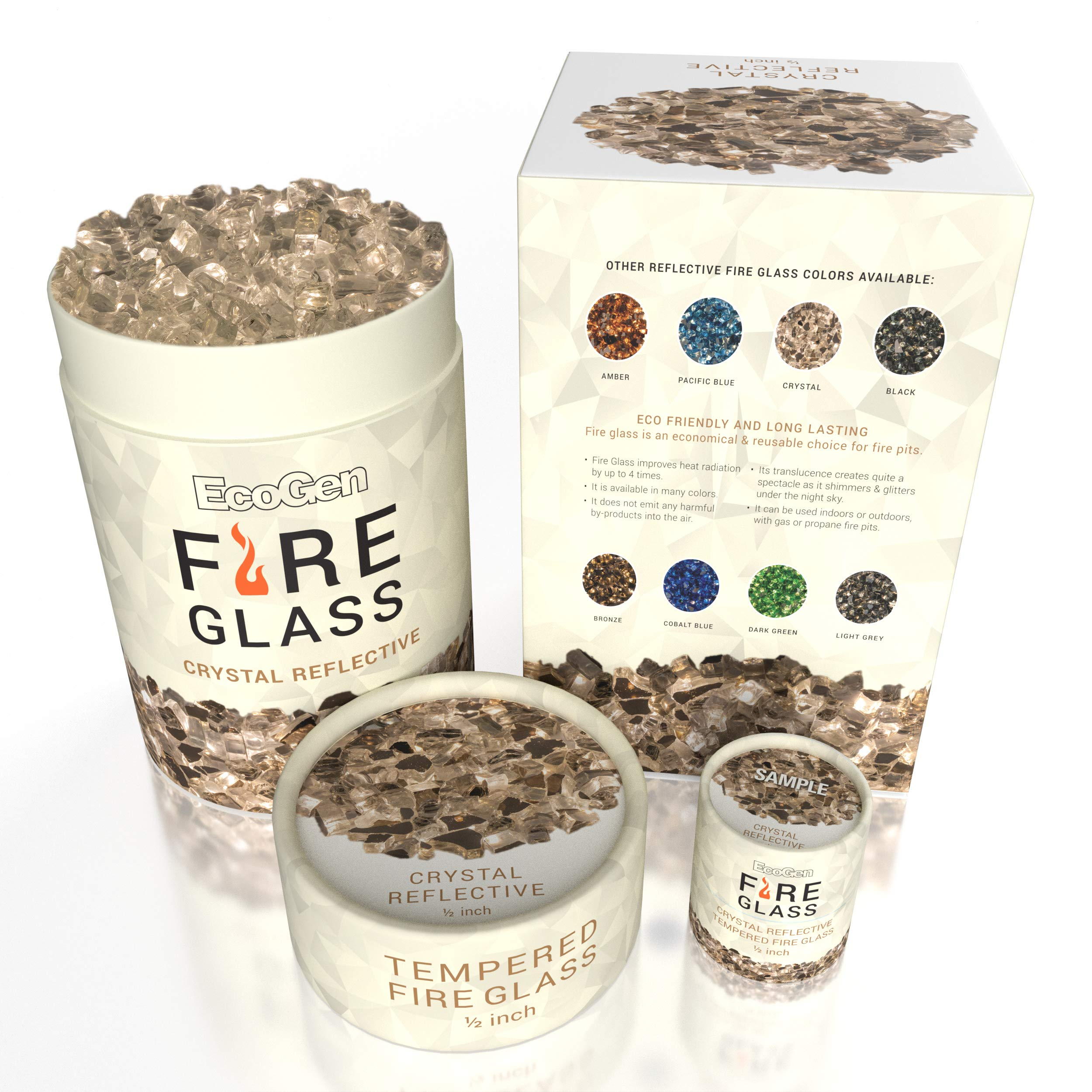 EcoGen Fire Glass Rocks for Outdoor Fire Pits and Indoor Fireplace, Color, Optimal Heat for Propane or Gas, Tempered and Reflective, Eco-Friendly Packaging, Crystal 1/2 inch Reflective 12 lbs.