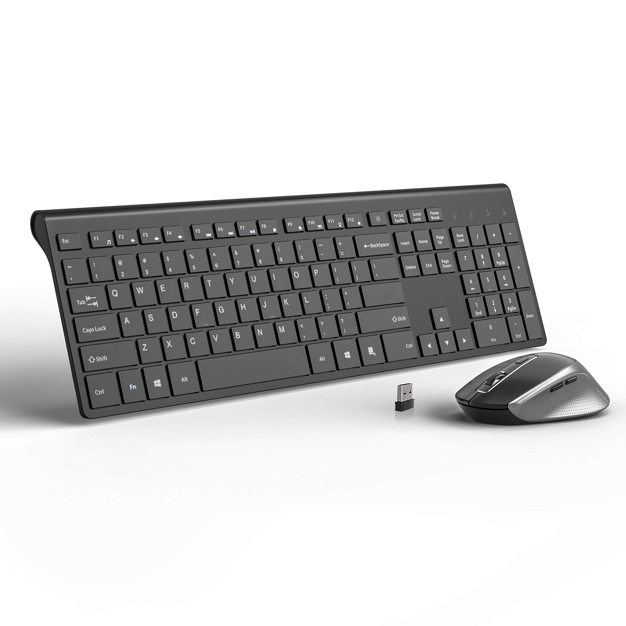 Wireless Keyboard and Mouse Combo,2.4G Ultra Slim Full Size Ergonomic Rechargeable Keyboard and Slient Cordless Mouse with Side Buttons for Mac,Windows,Laptop,Desktop - Black and Grey
