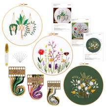 3 Pack Embroidery Starter Kit with Pattern and Instructions, Cross Stitch Beginner Kit Include 3 Embroidery Cloths with Plants Pattern, 3 Plastic Embroidery Hoops, Color Threads and Tools Kit