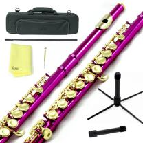 Sky Hot Pink Lacquer Gold Keys Closed Hole C Flute with 1 Year Manufacturer Warranty, Guarantee Top Quality Sound with Lightweight Case, Cleaning Rod, Cloth, Joint Grease and Screw Driver