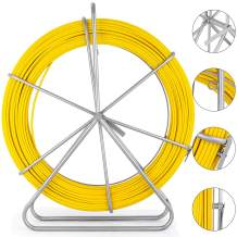 Happybuy 6mm656ft Duct Rodder Fish Continuous Fiberglass Tape Wire Cable Running with Cage and Wheel Stand, 6MM 656FT