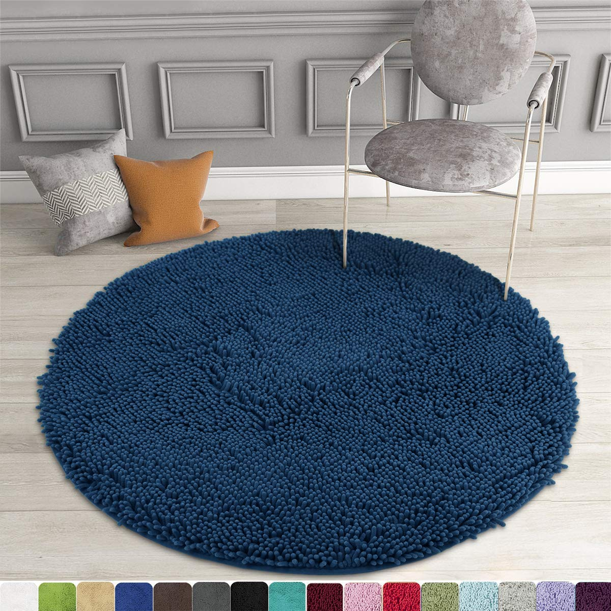 MAYSHINE Round Bath Mat Non-Slip Chenille 3 Feet Shaggy Bathroom Rugs Extra Soft and Absorbent Perfect Plush Carpet for Living Room Bedroom, Machine Wash/Dry-Dark Blue