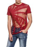 COOFANDY Men's Hollow Out Design T-Shirt Fashion Short Sleeve Hip-Hop Sexy Tees