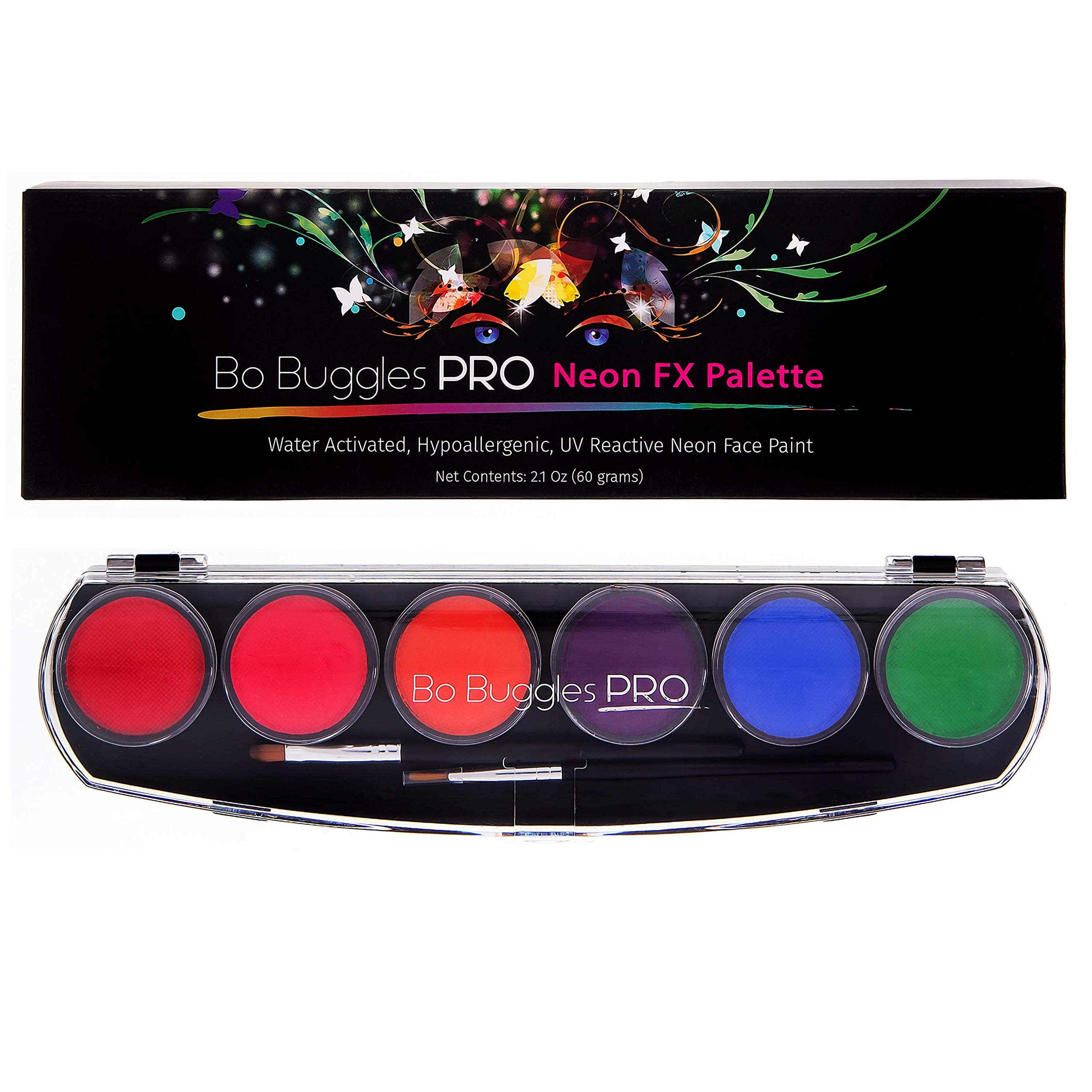 Bo Buggles Professional Neon FX Face Paint Kit UV Reactive Face Painting Palette. Water-Activated Loved by Pro Painters for Vibrant Detailed Designs. 6x10 Gram Paints +2 Brushes. Safe Quality Makeup