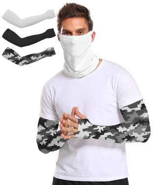 5 Pairs Unisex Arm Sleeves with UV Protection Long Ice Silk Arm Cover Sleeves for Sports /& Outdoors