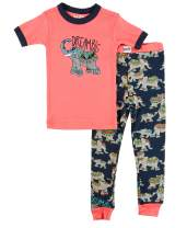 Lazy One Short-Sleeve Pajamas Sets for Girls and Boys, Kids' Soft Animal PJs