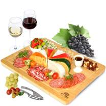 """Extra Large Bamboo Cheese Board and Charcuterie Boards/Serving Tray with Built-In Compartments and Juice Groove for Cheese, Meat and Fruit (12 x 18"""")"""