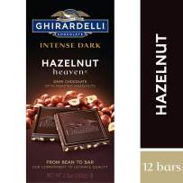 Ghirardelli Intense Dark Chocolate Bar - Hazelnut Heaven – Dark chocolate with deep roasted hazelnuts – 12 bars