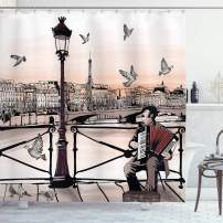 """Ambesonne Music Shower Curtain, Accordionist Playing Paris Street Urban European Famous City Panorama Graphic Scene, Cloth Fabric Bathroom Decor Set with Hooks, 75"""" Long, Peach Brown"""
