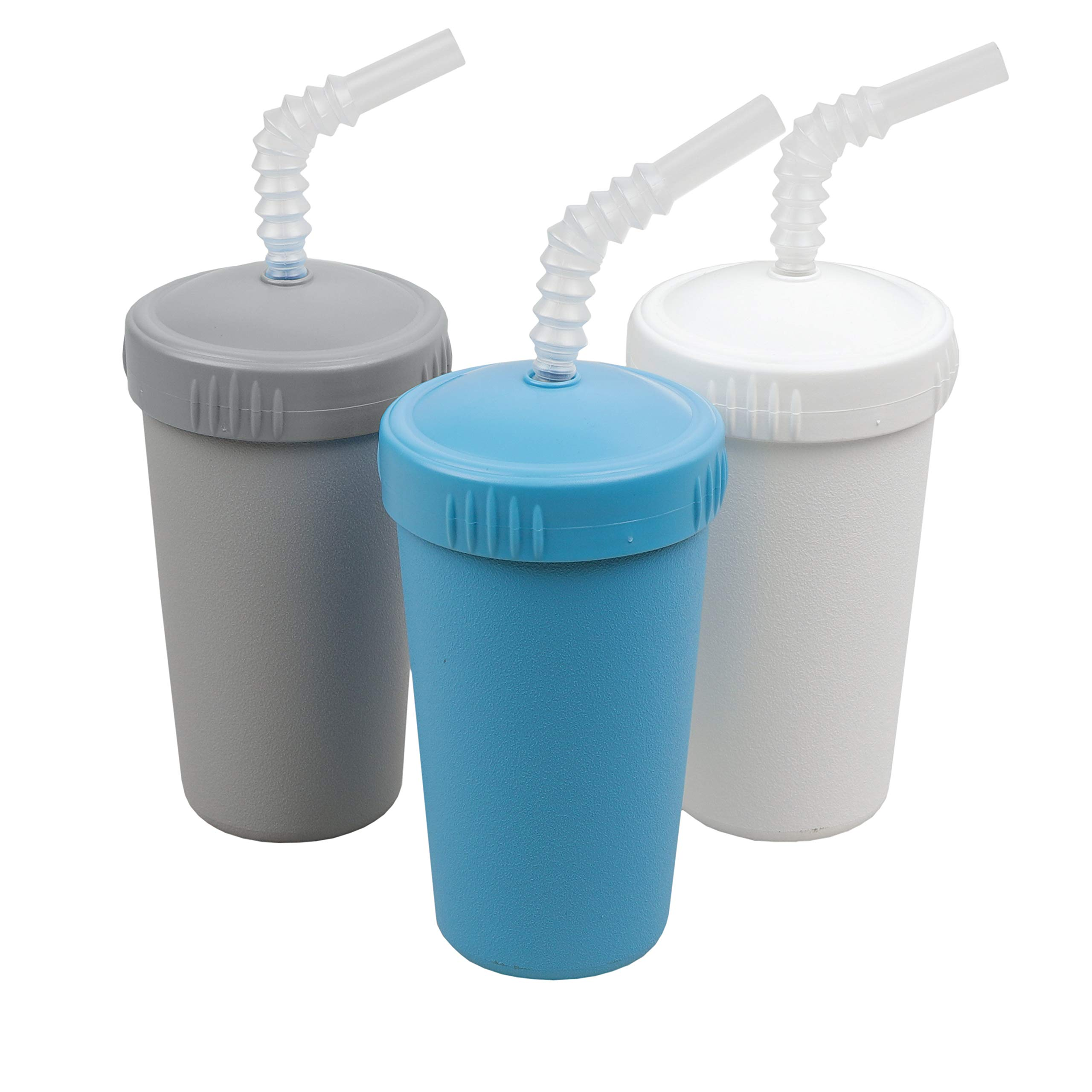 Re-Play Made in USA 3pk Straw Cups with Bendable Straw in Grey, White and Sky Blue   Made from Eco Friendly Heavyweight Recycled Milk Jugs - Virtually Indestructible (Modern Blue)