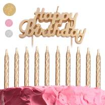 GET FRESH Gold Birthday Cake Candles Set – 10-Pack Spiral Candles and Happy Birthday Candles Cake Topper – Elegant Bday Candles and Letter Candles Cake Decoration – Unique Gold Birthday Candles kit