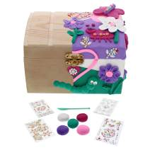 Purple Ladybug Kids Jewelry Box for Girls! DIY Craft Kit with Wooden Jewelry Box, 5 Colors Air Dry Clay, Sculpting Tool, 4 Sheets Glitter Gem Stickers - Fun Arts and Crafts Set, Great Gift for Girl!