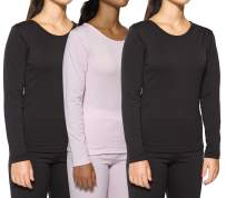 Real Essentials 1 &3 Pack: Women's Thermal Top Fleece Lined Crew Neck Long Sleeves Base Layer Underwear