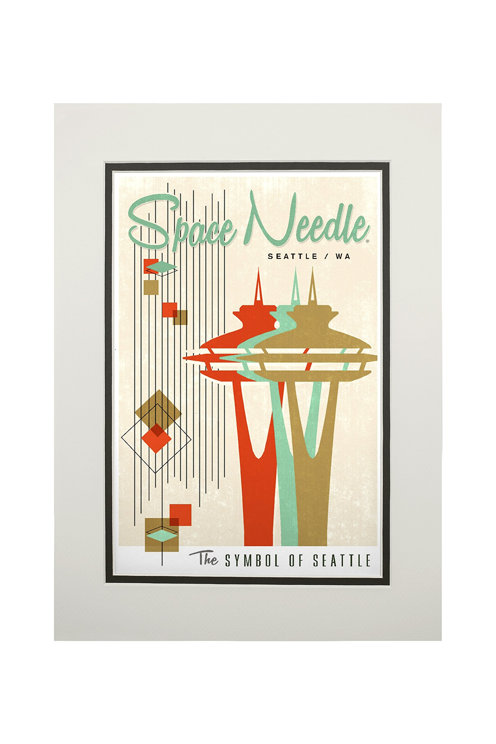 The Space Needle - Simple Block Color - Mid Century Modern Graphic Design (11x14 Double-Matted Art Print, Wall Decor Ready to Frame)