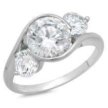 Clara Pucci 3.7 Ct 3-Stone Round Cut Solitaire Criss Cross Engagement Wedding Promise Bridal Anniversary Ring 14K White Gold