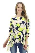 BENANCY Women 3/4 Sleeve Floral Print Chiffon Beach Loose Blouse Tunics Top