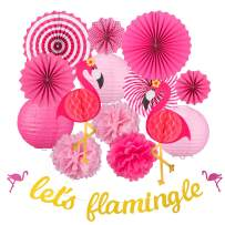 Whaline 15PCS Flamingo Party Honeycomb Decoration Set, Pink Paper Fans Pom Poms Paper Flowers Paper Lanterns Gold Flamingo Banner for Hawaii Summer Beach Luau Party Birthday Baby Shower Wedding Decor