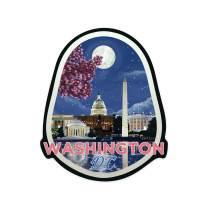 Lantern Press Washington DC - Night Scene - Contour 100754 (Vinyl Die-Cut Sticker, Indoor/Outdoor, Large)