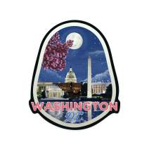 Lantern Press Washington DC - Night Scene - Contour 100754 (Vinyl Die-Cut Sticker, Indoor/Outdoor, Large)