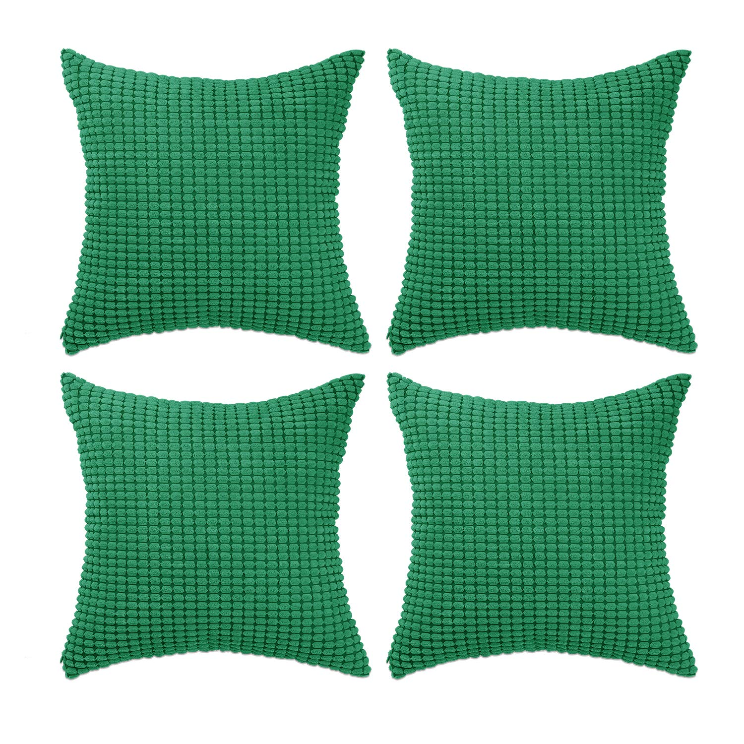 """Set of 4,Decorative Throw Pillow Covers 18"""" x 18"""" (No Insert),Solid Cozy Corduroy Corn Accent Square Pillow Case Sham,Soft Cushion Covers with Hidden Zipper for Couch/Sofa/Bedroom,Emerald Green"""
