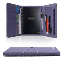 Folio Cover for Rocketbook Everlast Fusion, Cloth Fabric, Multi Organizer Men & Women Folder with Pen Loop/Phone Pocket/Business Card Holder, fits A5 size Notebook (Blue, Executive -A5)