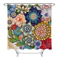 LB Boho Floral Shower Curtains for Bathroom Tribal Mandala Botanical Flower Shower Curtain Set with Hooks 72x78 inch Waterproof Polyester Fabric Bathroom Decorations