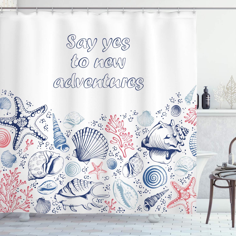 "Ambesonne Adventure Shower Curtain, Underwater Marine Wildlife Theme Seashells Corals and Starfishes, Cloth Fabric Bathroom Decor Set with Hooks, 70"" Long, Dark Coral"