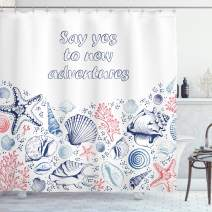 "Ambesonne Adventure Shower Curtain, Underwater Marine Wildlife Theme Seashells Corals and Starfishes, Cloth Fabric Bathroom Decor Set with Hooks, 70"" Long, Dark Coral"