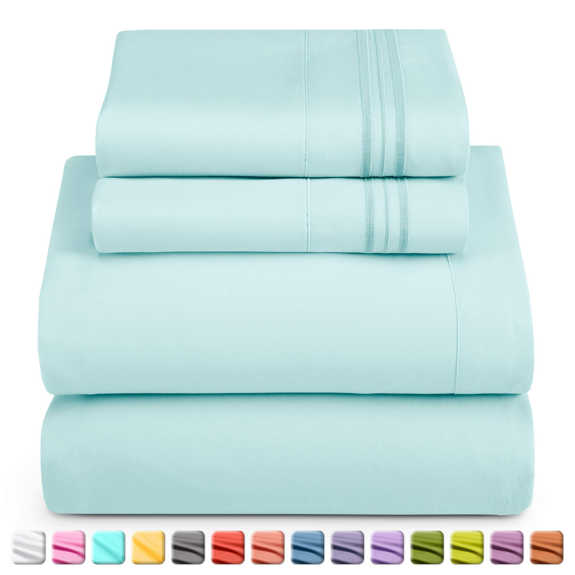 Nestl Deep Pocket King Sheets: King Size Bed Sheets with Fitted and Flat Sheet, Pillow Cases - Extra Soft Microfiber Bedsheet Set with Deep Pockets for King Sized Mattress - Light Baby Blue
