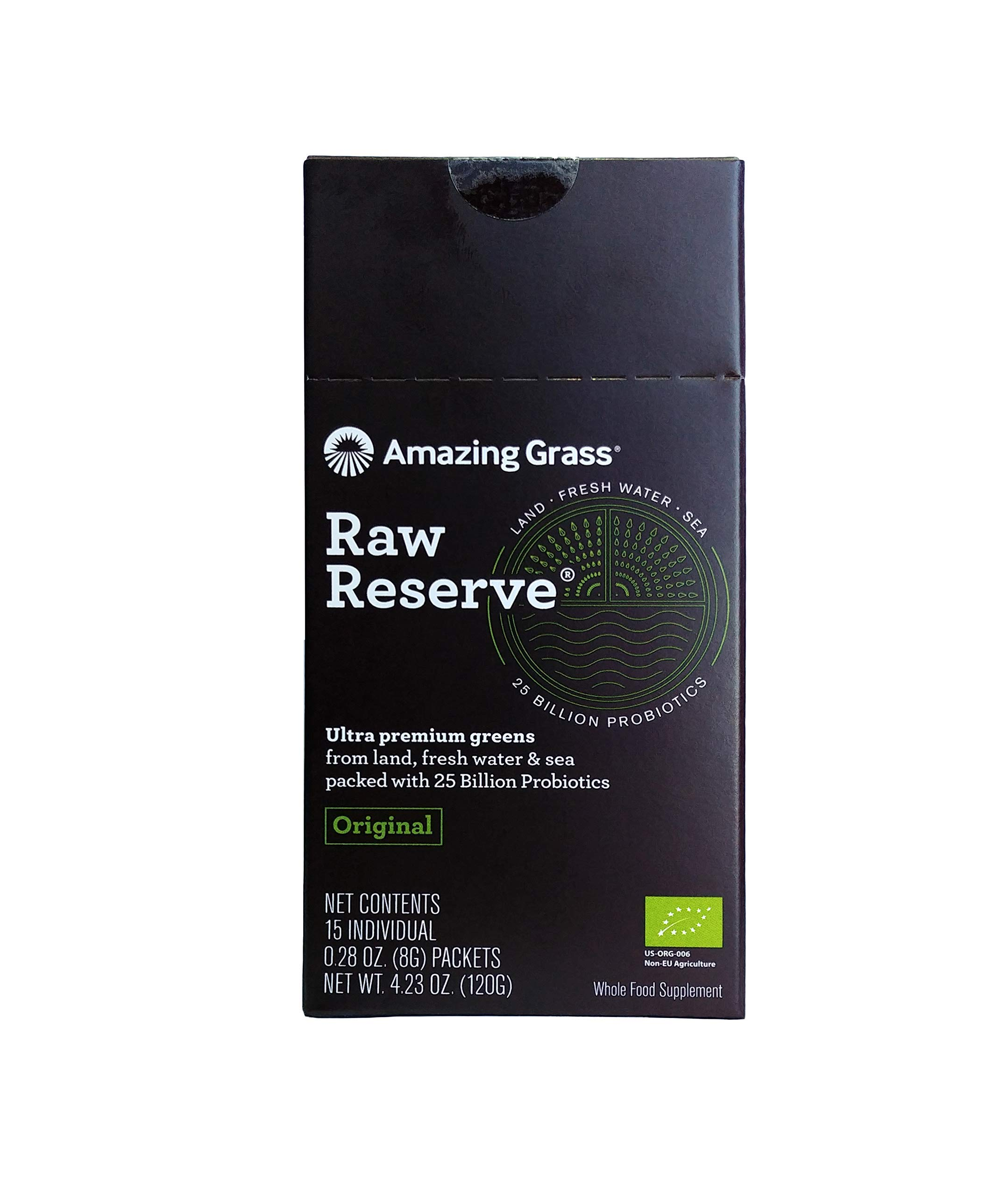 Amazing Grass, Raw Reserve Green Superfood Organic Powder with Wheat Grass and Greens, Flavor: Original, Box of 15 Individual Servings