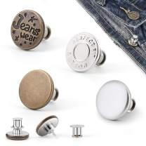 [Upgraded] 4 Pcs Button Pins for Jeans,Perfect Fit Jean Button Replacement Removable Adjustable Jean Button Pins Metal Clips Snap Tack No Sew Detachable and No Tools Require(in Plastic Storage Box)