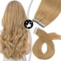 Moresoo Caramel Blonde Hair Extensions Tape in 18 Inch Full Head Tape in Extensions 40 Pieces 100 Grams #27 Caramel Blonde Thick Human Hair Extensions Invisible Tape in Hair Extensions