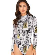 WDIRARA Women's Newspaper Print Long Sleeve Letter Mid Waist Skinny Bodysuit