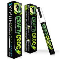 Crafty Croc White Liquid Chalk Marker, (Pack of 1), Wet Erase Reversible Tip