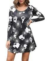 Aphratti Womens Long Sleeve Funny Halloween Print Tunic Dress Cute Swing Costume