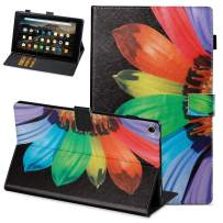 Fire HD 10 2019 Case, Macoku Amazon Fire HD 10(2019/2017 Release, 9th/7th Generation) Folio Case Ultra Slim PU Leather Smart Cover Folding Stand Case with Auto Wake/Sleep(Sunflower)