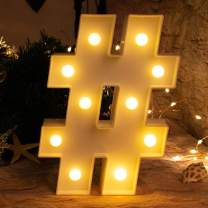 Brightown Marquee LED Number Night Lights Sign Light Up Plastic Number Lights Sign for for Wedding Birthday Party Home Bars Decoration, Battery Operated (#)