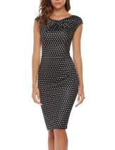 ANGVNS Women's Vintage Sleeve Ruffles Business Bodycon Pencil Pattern S